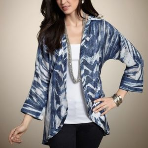 Chico's Watercolor Meredith Jacket Midnight NEW 2